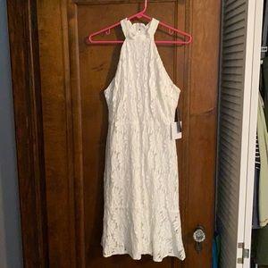 Lulu's Lace High Neck White Dress